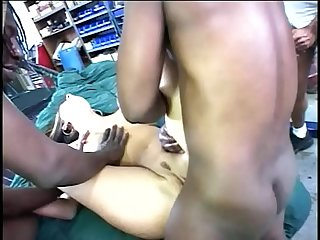 3 huge black dicks hurts her asshole