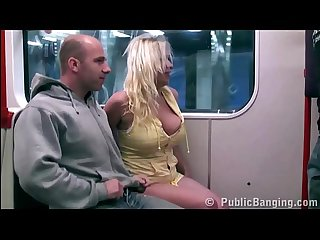 Big tits model stella fox public subway gang bang threesome orgy