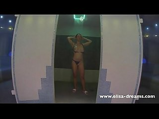 Flashing my body in a spa Sauna jacuzzi