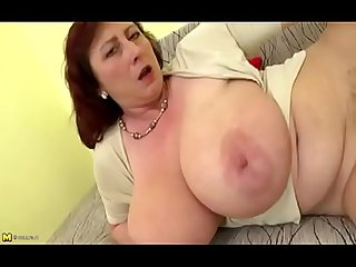 Tanned mother catches son jerking off to her video bangs H