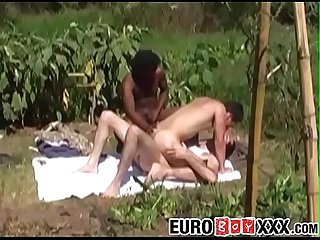 Young Euro gays fucking black cock in outdoor threesome