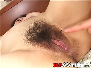 Japanese rounded ass chick gets creampie