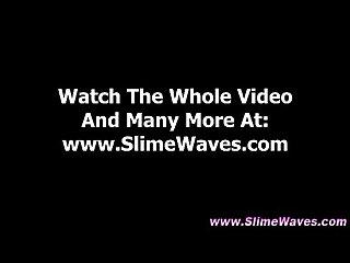 Glam whore gets slimed fake gloryhole