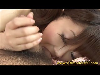 Asian model blows studs cock so she can get fucked