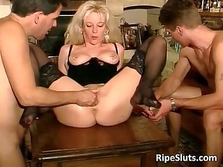 Hot mature blonde gets double fucked