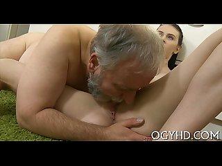 Hot juvenile babe banged by old guy