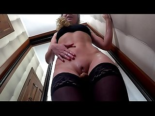 Homemade solo with big dildo squirting shaking orgasm