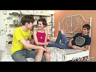 Legal age teenager is lured to have 3some