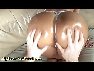 Babe gets big booty oiled