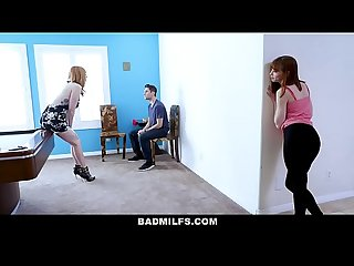Badmilfs slutty mom fucks stepdaughter and her boyfriend