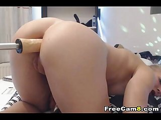 Blonde chick gets a anal fuck by a robotic dildo