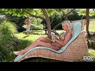 Tattooed blonde teen Aisha gets her young tight pussy filled in the garden