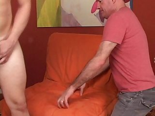 Str8 beefy muscle boy is nervous gets bj