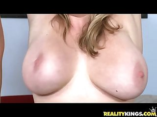 Maggie green and halie james bare their Juggs and take quite the pounding