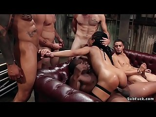 Ebony gets rough interracial orgy