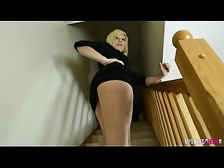 Walking up the Stairs and teasing an Upskirt view pussy