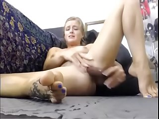 Titty-Cam.com - Milf squirts on her feet and then licks it all in front of the webcam