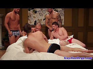 Cumshot loving muscle jock in group gets anal