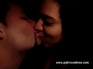 Indian couple romantic kissing