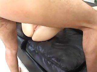 Sexy blonde with Nice butt angela stone rides cock and gets fucked doggystyle on the leather couch t