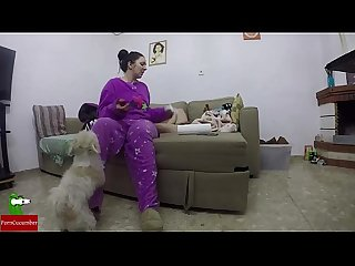She eats her boy S penis and her pet gets excited