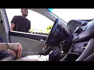 Black guy gets caught watching white guy jerk off in his car