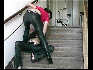 Lesbians leatherpants cumming mix 02