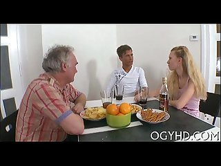 Young girl gives a blow to old cock