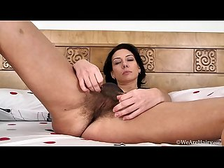 Gorgeous brunette eva reveals her hairy bush
