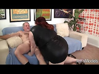 Fat redhead gobbles a guy s pecker and gets fucked hard