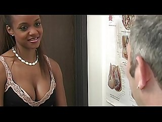 Ebony girl in gyno exam