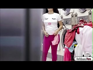 Brunette babe Annika Eve fucking a guy in the laundry shop
