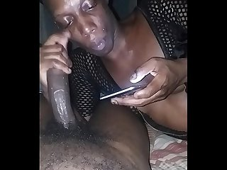 Tranny sucking bbc while on phone