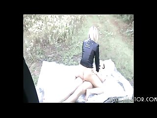 Amateur college teen fucking on a bedspread near the car