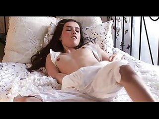Innocent pretty brunette masturbates