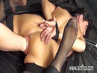 Hot milf fist fucked in bondage