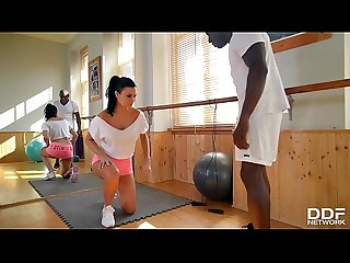 Busty gym instructor Jasmine Jae rides big black cock with her asshole