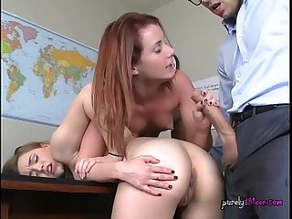 Schoolgirls get fucked by their hung teacher
