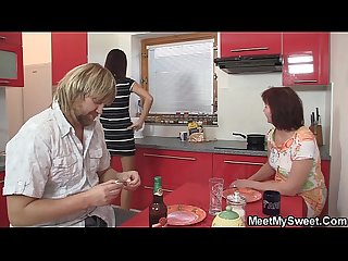 Family threesome on the kitchen