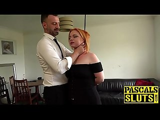 Busty redhead harley morgan chokes on cock before rough plow