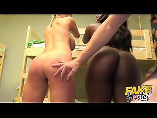 Fake hostel busty Black Girl and dirty blonde Babe with big tits Go wild Squirting deep throat rimmi