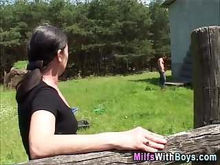 Milf brunette outdoor fucking with teen