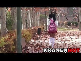 Schoolgirl ath the park voyeur in public