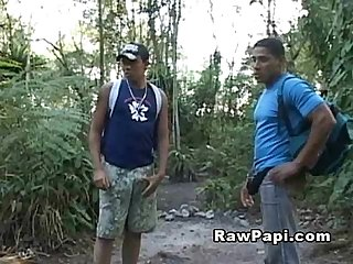 Latin papi started wanking his dick in the woods