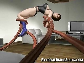 Tentacles bang a 3d girl