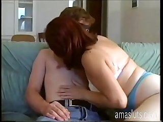 Mature woman in mask fucks with younger