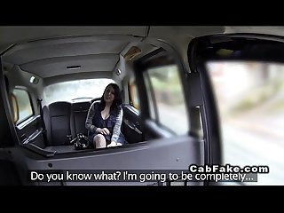 Pierced woman fucks in fake taxi in public car park