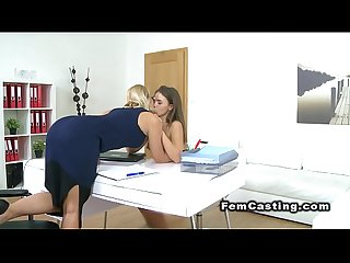 Female agent licks cunt to brunette beauty