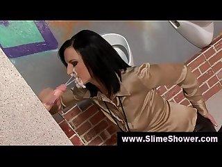 Glory hole blowjob jizz shower