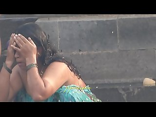 Indian desi women bathing at ghats